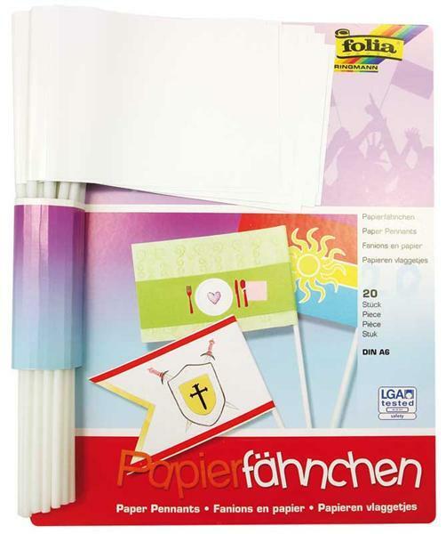 Blanko Papierfähnchen - DIN A6, 20 Stk.