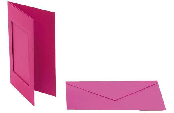 Passepartoutkarten rechteckig, 3er Pkg. pink