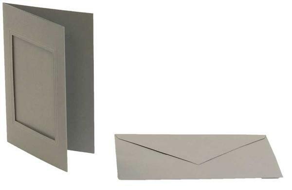Passepartoutkarten rechteckig, 3er Pkg. anthrazit