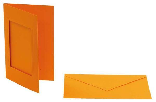 Passe-partoutkaarten rechthoekig, 3st., oranje