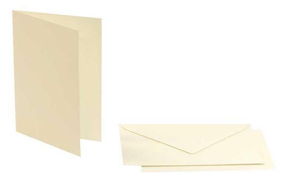 Cartes doubles rectangulaires - 5 pces,blanc perlé