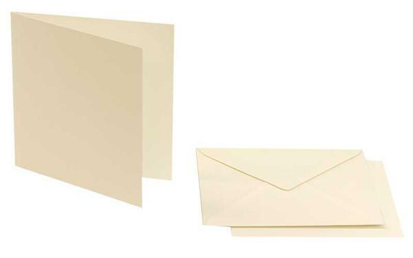 Dubbele kaarten vierkant  5 st., parelwit