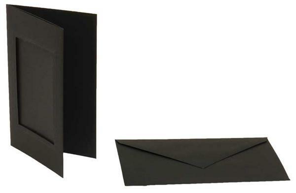 Passe-partoutkaarten rechthoekig, 3st., zwart