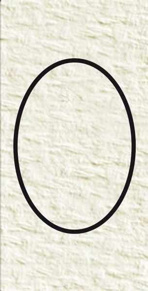Passe-partout ovale, 3 pces, blanc perlé