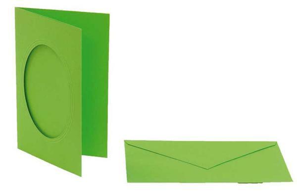 Passepartoutkarten oval, 3er Pkg. hellgrün