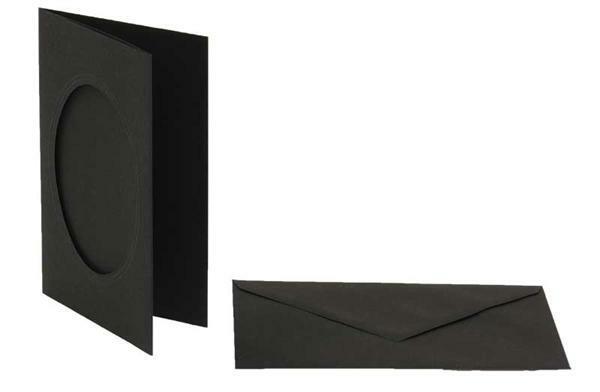 Passepartoutkarten oval, 3er Pkg. schwarz