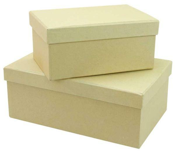 Pappmache Boxen - 2 Stk., 15 + 19 cm