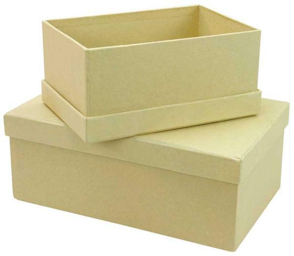 Boîtes en papier mâché - 2 pces, 15 + 19 cm