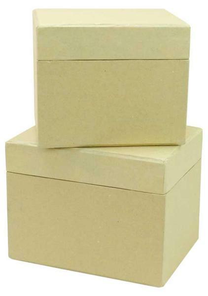 Boîtes en papier mâché - 2 pces, 13 + 11 cm