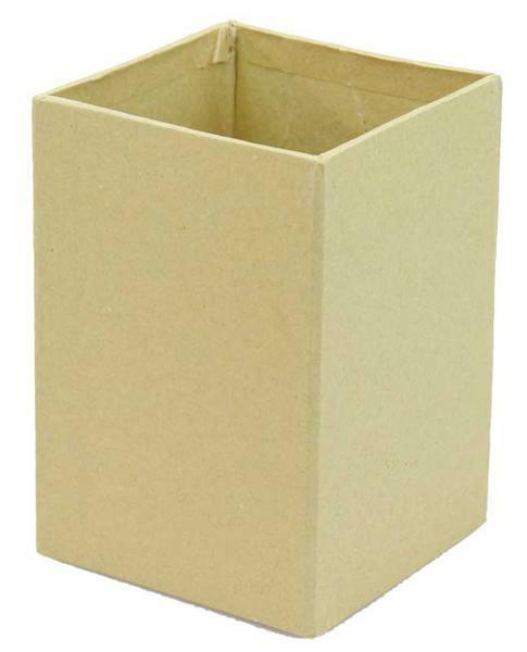 Pot à crayons en papier mâché, 7 x 7 x 10 cm