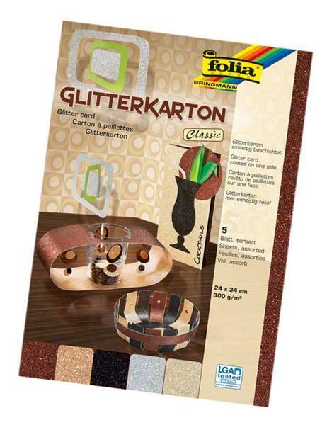 Glitterkarton - 23 x 33 cm, 5 vel, classic
