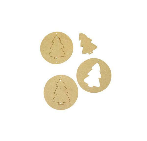 MDF kerstboom, 3 stuks