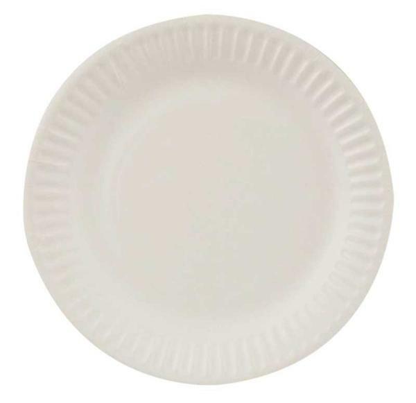 Assiette en carton - blanc, Ø 15 cm