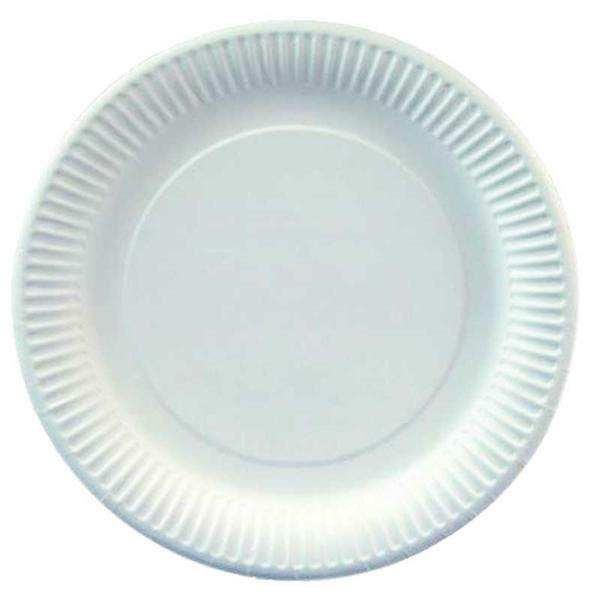 Assiette en carton - blanc, Ø 23 cm