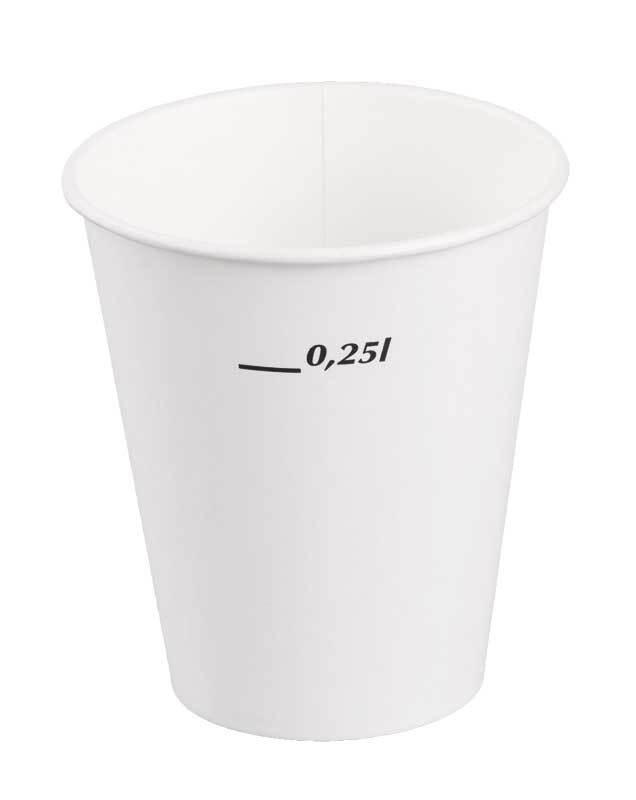 Kartonnen beker - wit, 0,25 l
