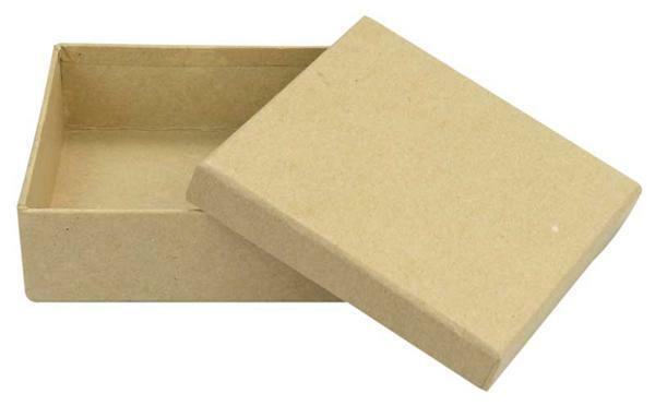 Boîte en papier mâché - cube, env. 8,5 cm