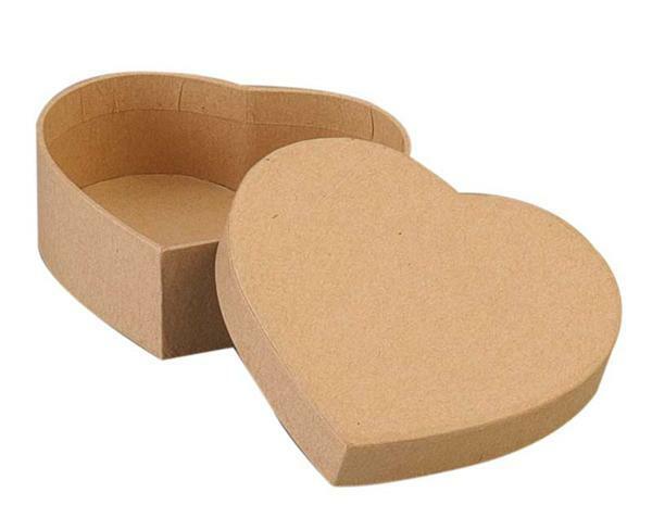 Boîte en papier mâché - cœur, 8,5 x 3 cm