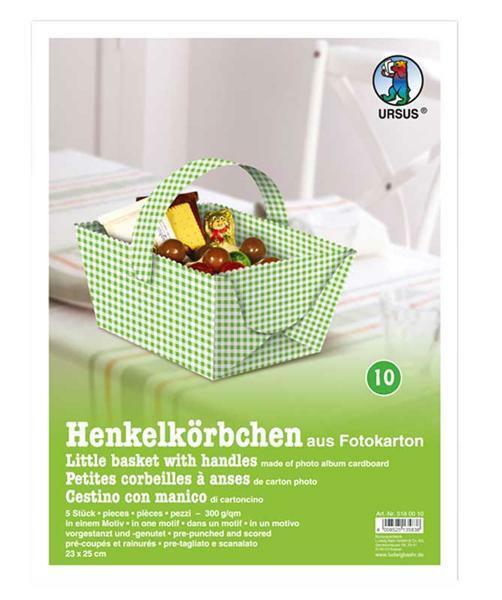 Henkelkörbchen - 5 Stk., grün-kariert
