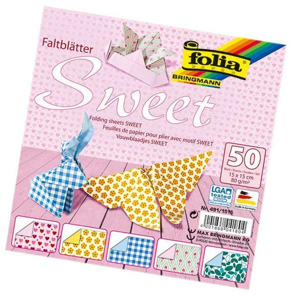 Papier à plier à motifs - 15 x 15 cm, sweet