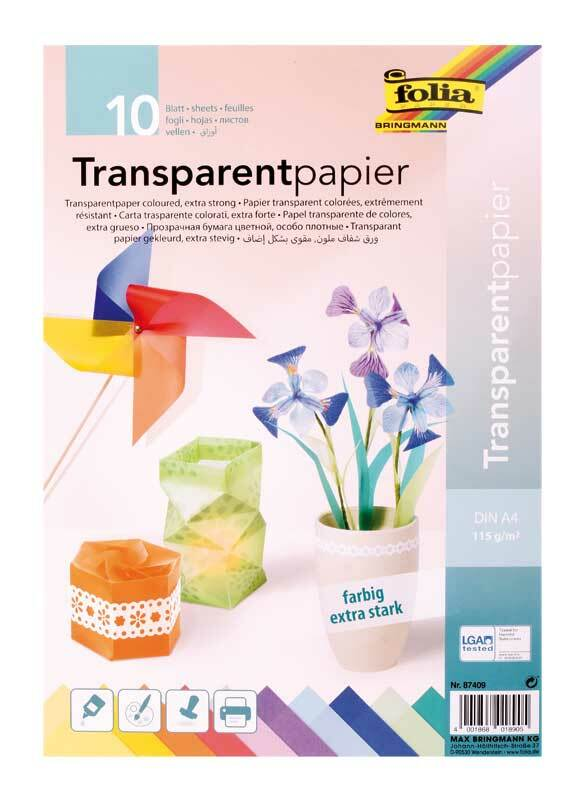 Papier transparent - A4, 10 feuilles, multicolore