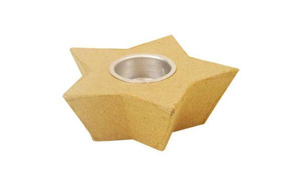 Pappmache Teelichthalter - Stern, 13 cm