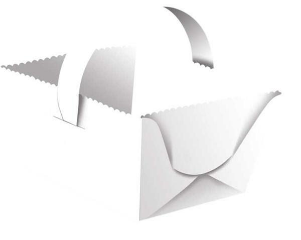 Kartonnen mand met handvat - 5 stuks, wit