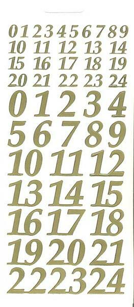 Sticker - adventskalender, goud