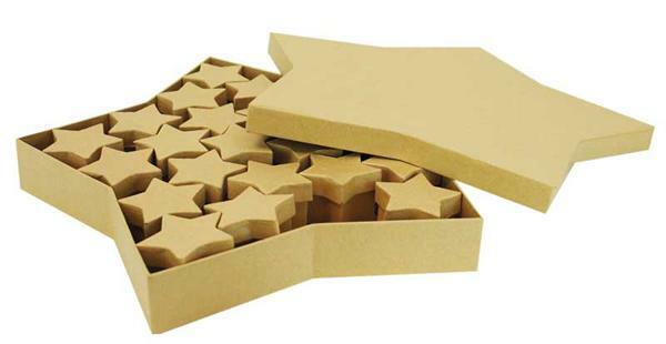 Papier-maché dozen - sterren set, 25 stuks