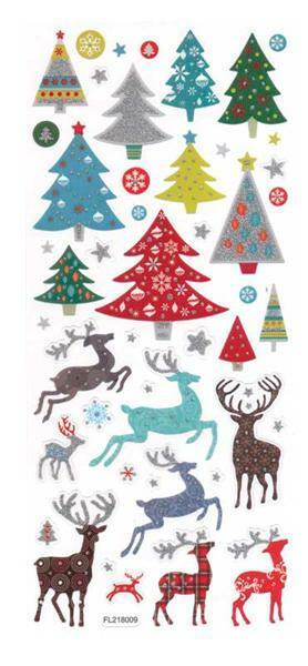 Stickers glitter - kerst