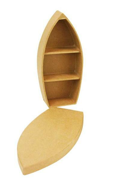 Papier-maché doos - boot, 26 cm