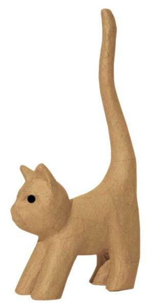 Pappmache Katze klein, 18 x 9 cm