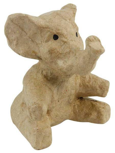 Animaux en papier mâché - éléphant assis, 10 x 7cm