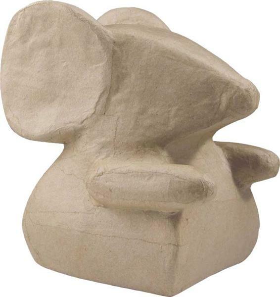 Papier-maché figuur - muis, 14 x 14 cm
