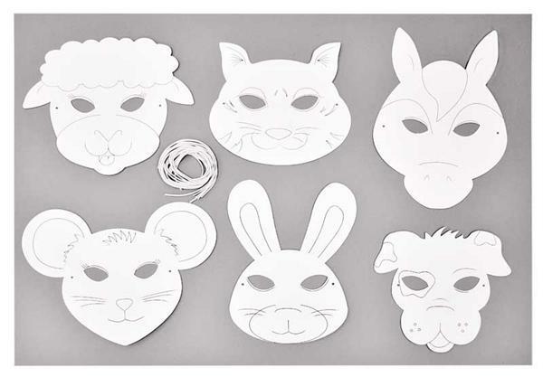 Blanco maskers - 6 stuks, boerderijdieren