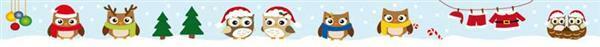 Motiv Klebeband - 10 m, Weihnachten Eulen