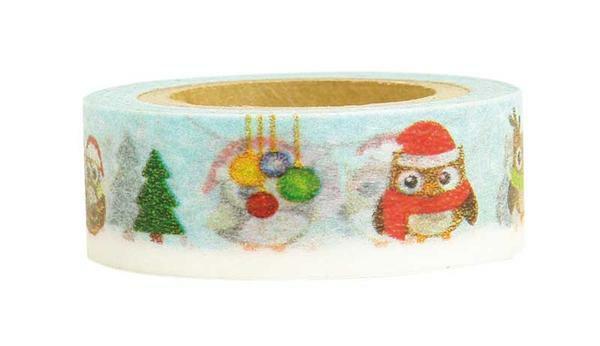 Ruban adhésif à motifs - 10 m, Chouettes de Noël