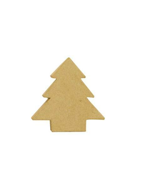 Papier-maché doos - dennenboom, 11 x 4 cm