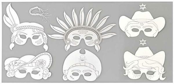 Blanko Masken - 6 Stk., Kinderparty