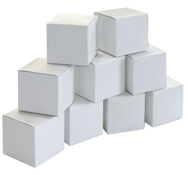 Blanco kubus dozen - 6 cm, 20 stuks