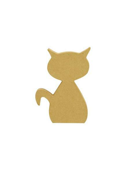 Pappmache Katze, 12,5 x 9,5 x 2,5 cm