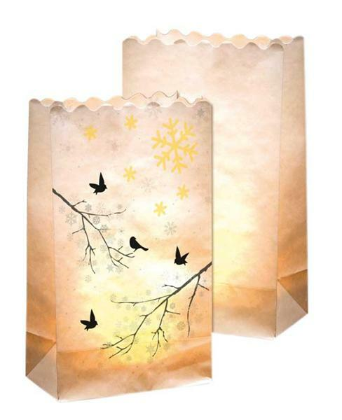 Lichtzakken - vogeltakje, 5 stuks,19 x 11,5 x 7 cm