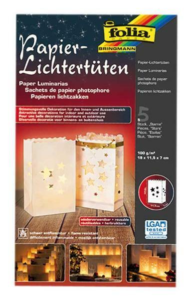 Lichtzakken - sterren, 5 stuks, 19 x 11,5 x 7 cm