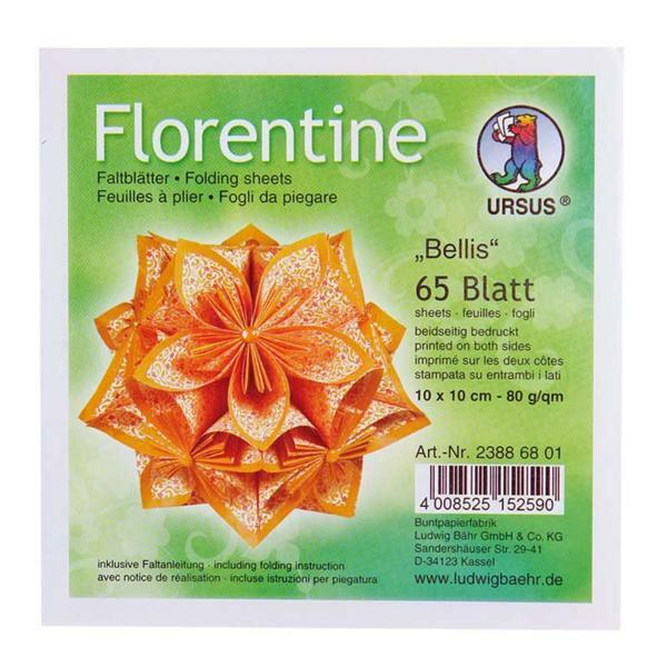 Faltblätter Florentine Bellis - 10 x 10 cm, orange
