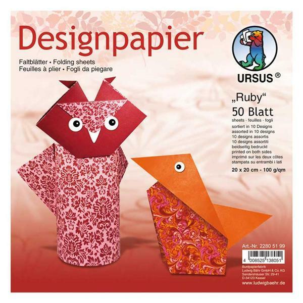 Papier à plier à motifs - 15 x 15 cm, Ruby