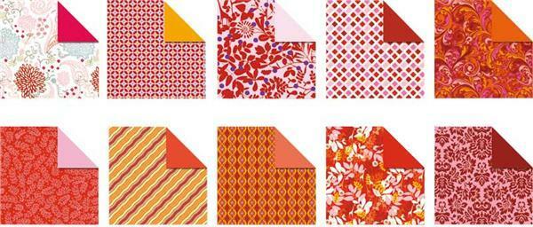 Vouwbladen met motieven - 15 x 15 cm, Ruby