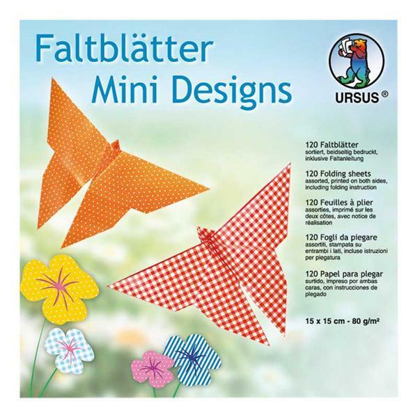 Papier à plier Mini Design - 120 pces, 15 x 15 cm