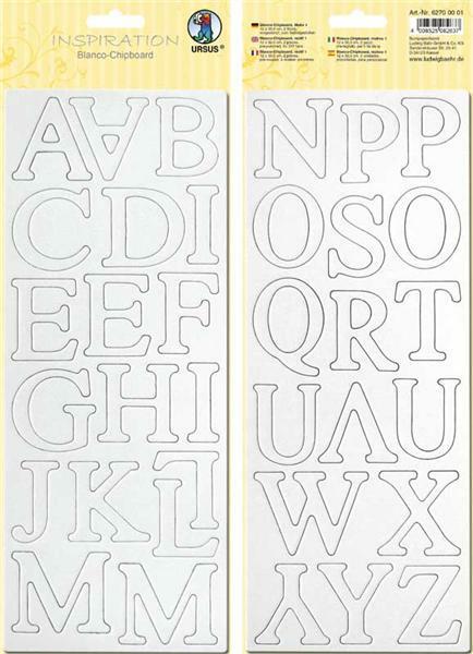 Blanco karton letters - ca. 4,5 cm