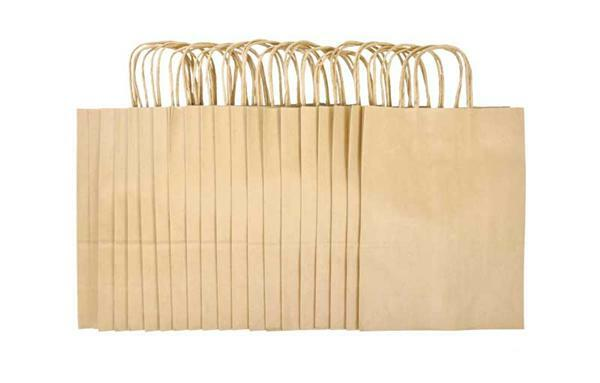 Papieren zakken - naturel, 20 stuks, L