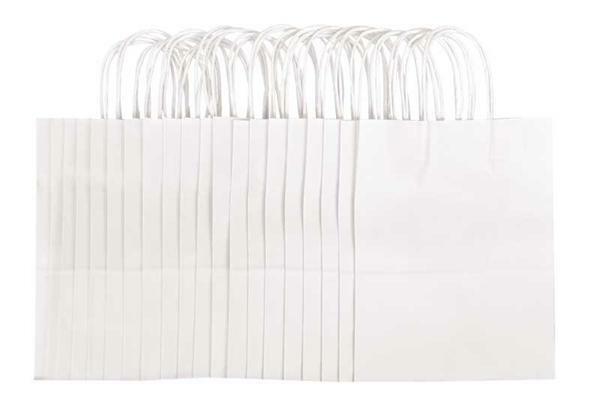 Papieren zakken - wit, 20 stuks, L