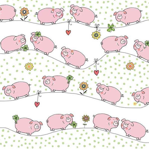 Serviettes - 20 pces, cochons porte-bonheur